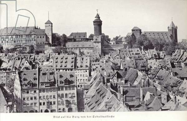 View of the castle from St Sebaldus Church, Nuremberg (b/w photo)