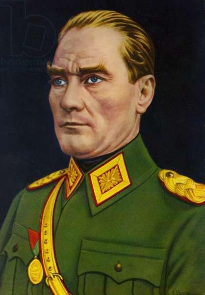 Mustafa Kemal Ataturk (colour litho)
