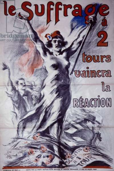 French postcard suppoting votes for women (colour litho)