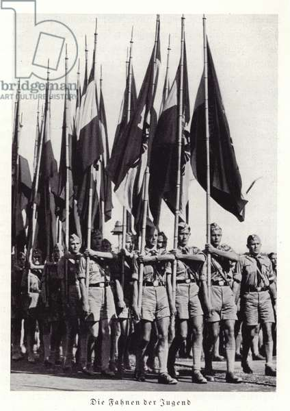 The flags of the Hitler Youth, Nuremberg Rally, 1936 (b/w photo)