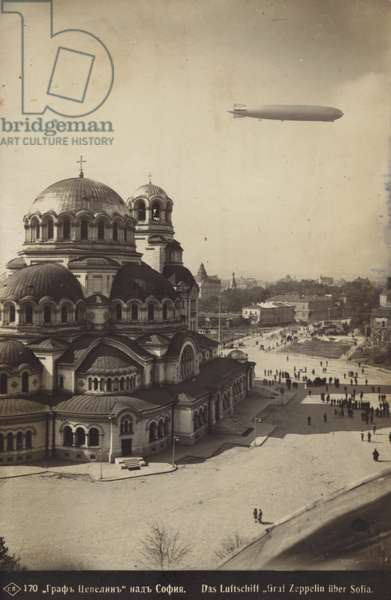German airship Graf Zeppelin over the Alexander Nevsky Cathedral in Sofia, Bulgaria, 1931 (b/w photo)
