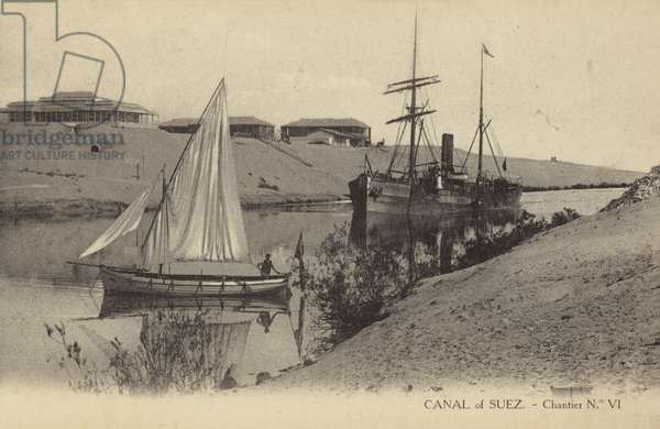 Suez Canal, Egypt (b/w photo)