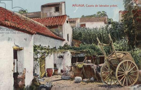Poor farm labourer's cottage, Malaga, Spain (coloured photo)