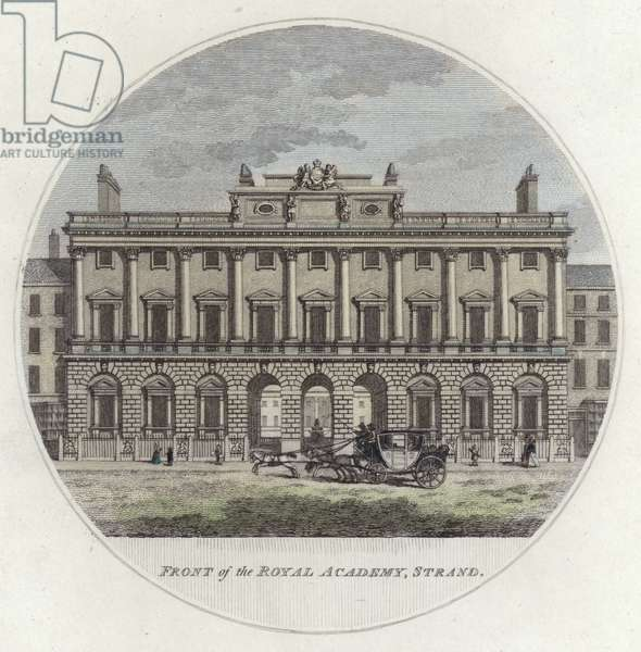 Front of The Royal Academy, Strand, London (coloured engraving)
