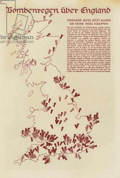 German air attacks on Britain, World War II (litho)