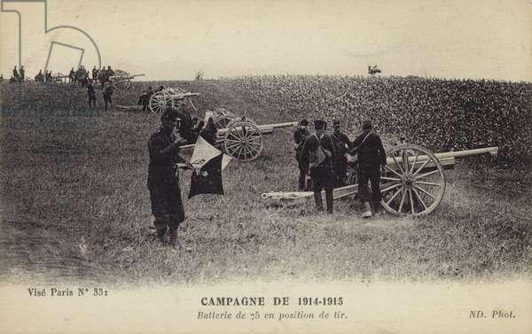 Battery of French 75 mm guns in firing position, World War I, 1914-1915 (b/w photo)