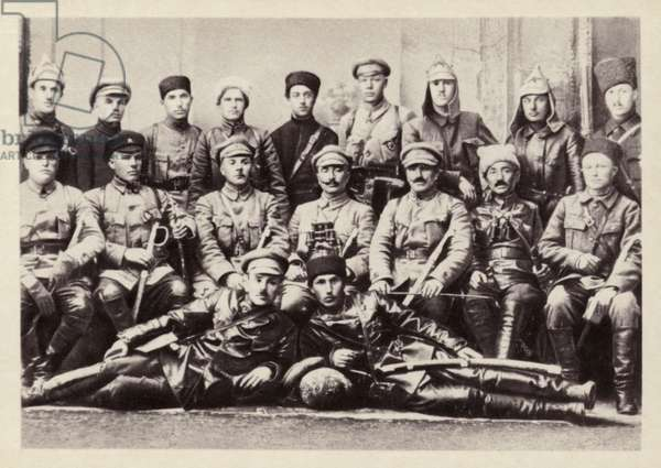 Revolutionary Military Council of the 1st Cavalry Army, command and political staff, Maykop, Russia, Russian Civil War, March 1920 (b/w photo)