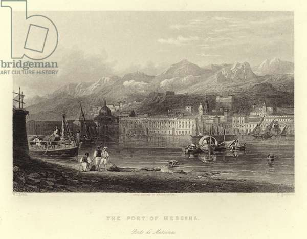 The port of Messina, Sicily, Italy (engraving)