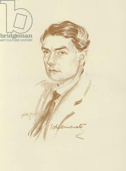 John Drinkwater, English poet and dramatist (litho)