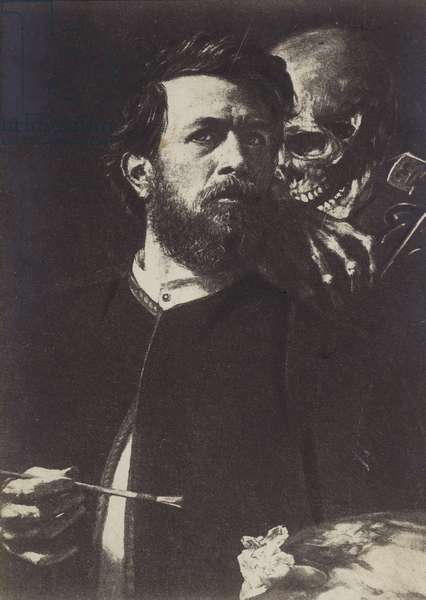 Self-portrait with Death Playing the Fiddle, 1872 (litho)