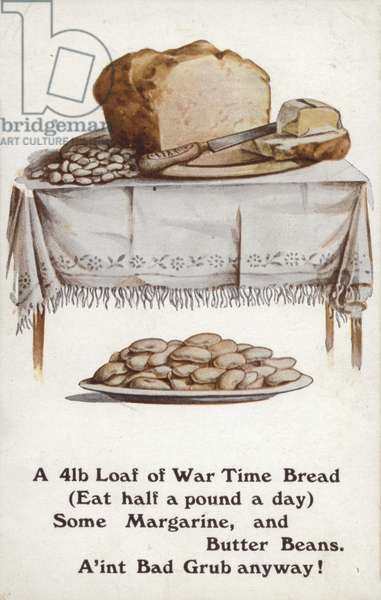 WW1 rationing illustration of war time bread (colour litho)