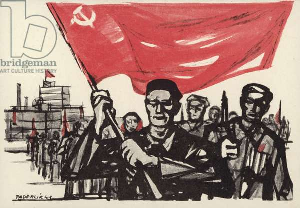 The formally oppressed, march on with the Soviet flag (colour litho)