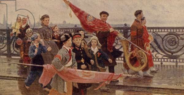 Returning from a Parade (They Saw Stalin), 1949 (colour litho)