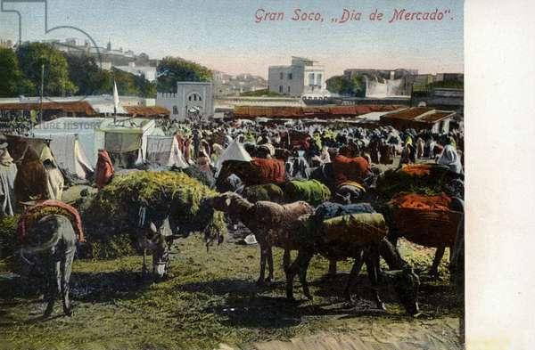 Market Day, Grand Socco square, Tangier (coloured photo)