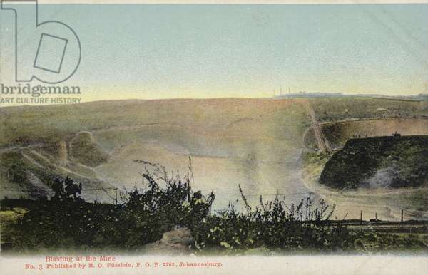 Postcard depicting blasting at a mine (photo)