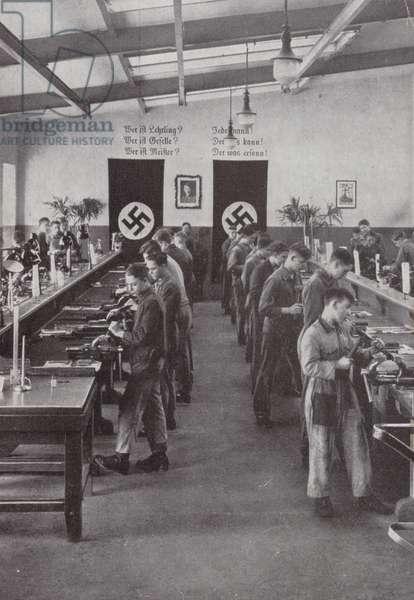 Metalwork class, Nazi Germany (b/w photo)
