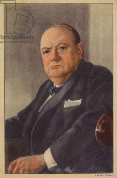 Winston Churchill (coloured lithograph)