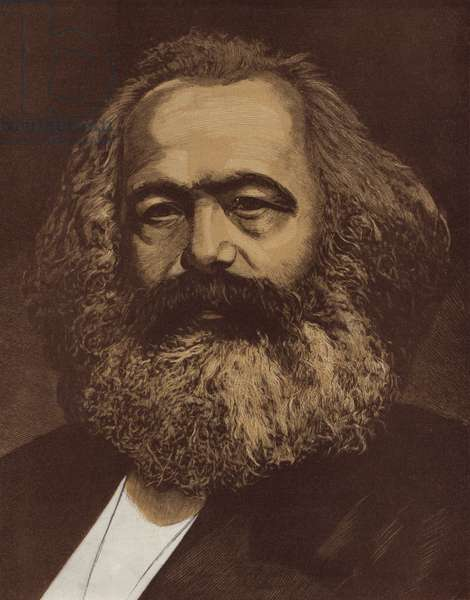 Karl Marx, German philosopher, revolutionary socialist and economist, 1940 (linocut)