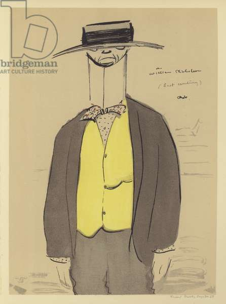 Caricature of William Nicholson, British artist (colour litho)