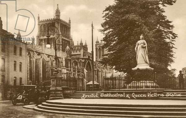 Bristol Cathedral and Queen Victoria Statue (b/w photo)