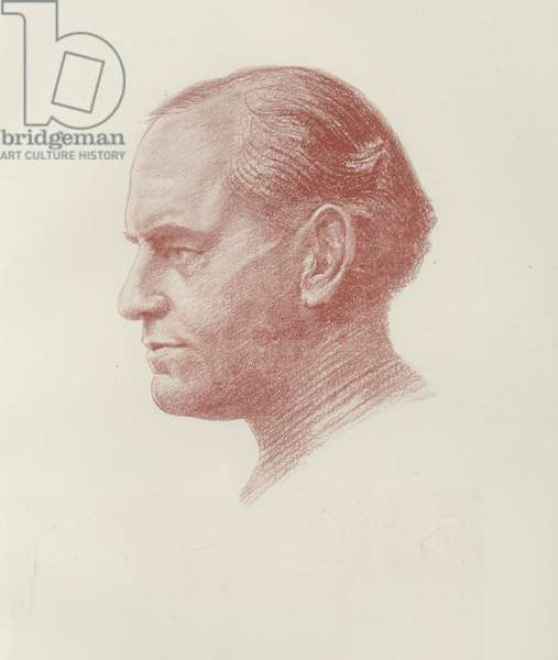 John Galsworthy, English novelist (litho)
