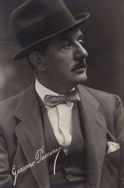 Portrait of Giacomo Puccini (b/w photo)