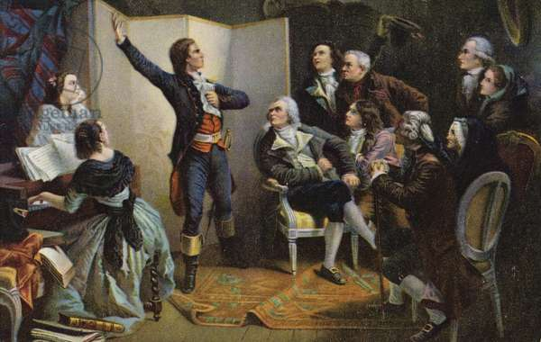Claude Joseph Rouget de Lisle singing La Marseillaise (colour litho)
