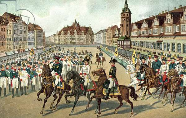 Entry of the three Allied monarchs into Leipzig, 19 October 1813 (colour litho)