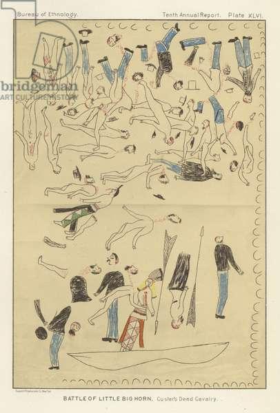 Battle of Little Big Horn - Custer's Dead Cavalry (colour litho)