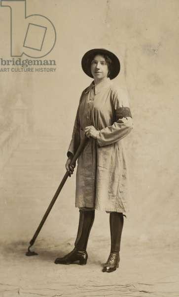 Land Army girl, World War I (b/w photo)