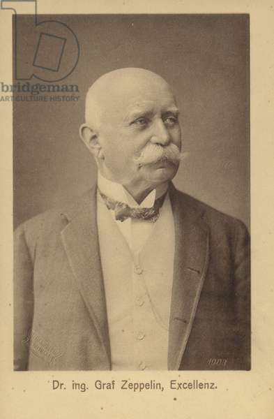 Ferdinand von Zeppelin, German airship pioneer and founder of the Zeppelin Airship Company (b/w photo)
