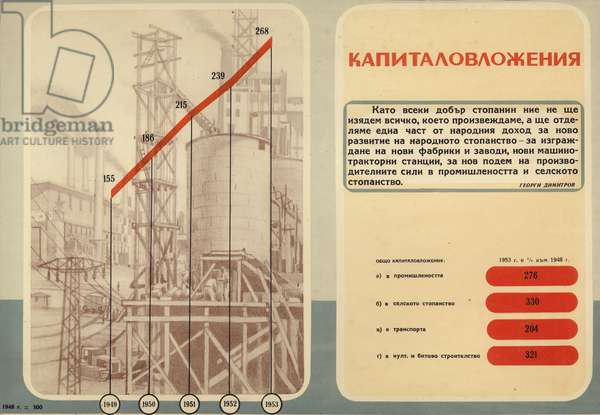 Bulgarian communist propaganda showing the increase of state capital investment during the first five-year plan (1948-1953) (colour litho)
