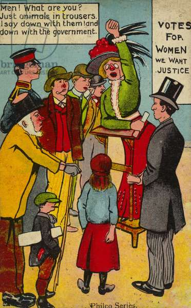 Anti-suffragette postcard (colour litho)