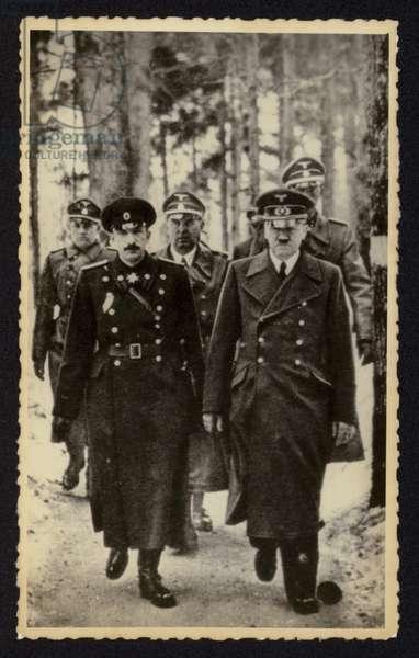 Adolf Hitler with Tsar Boris III of Bulgaria (b/w photo)