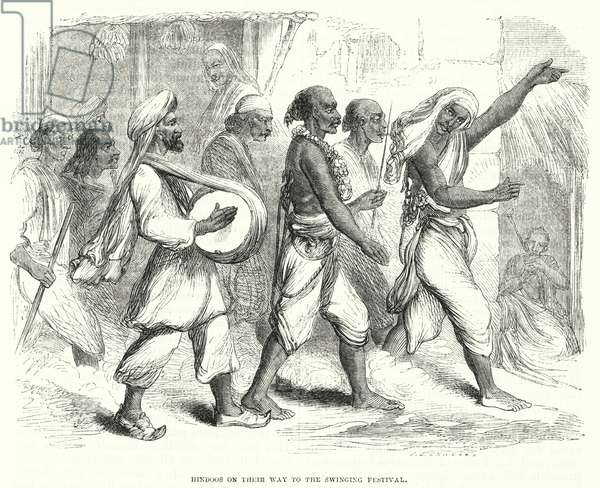 Hindoos on their way to the Swinging Festival (engraving)