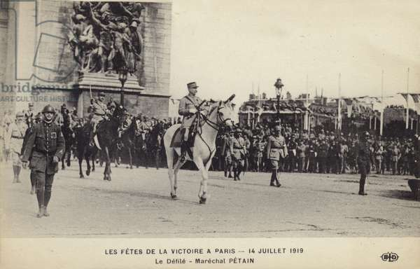 Marshal Petain taking part in the Paris Victory Parade, 14 July 1919 (b/w photo)