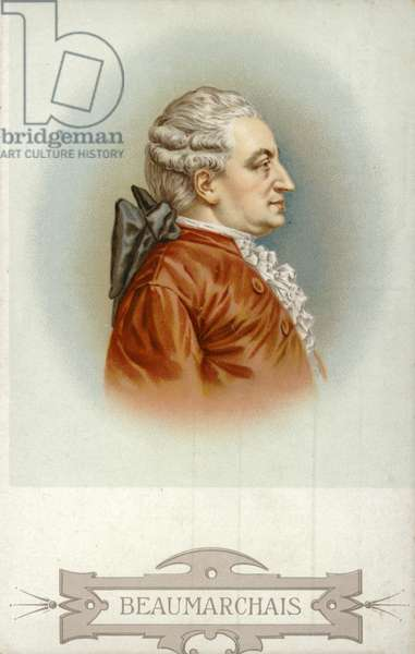 Pierre Beaumarchais (1732-1799), French playwright (colour litho)