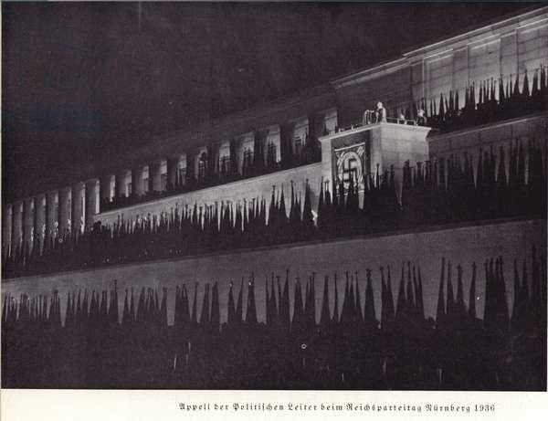Muster of political leaders, Nuremberg Rally, 1936 (b/w photo)