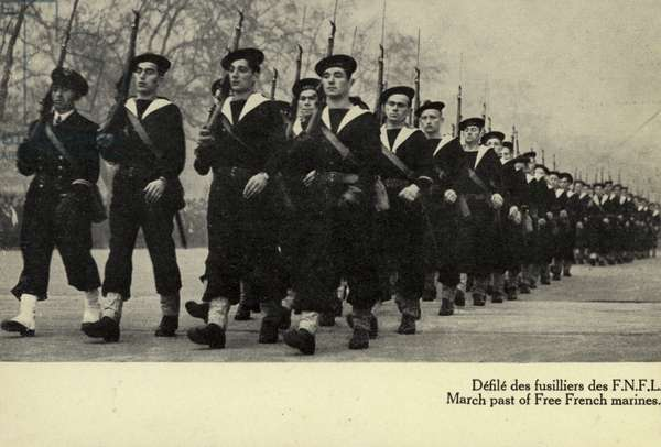 March past of Free French Marines, World War II (b/w photo)