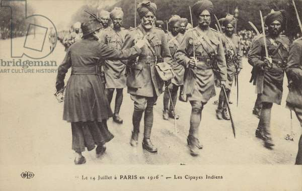 Indian soldiers parading in Paris on Bastille Day, World War I, 14 July 1916 (b/w photo)
