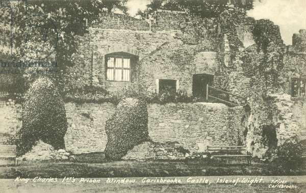 King Charles Ist's Prison Window, Carisbrooke Castle, Isle-of-Wight (b/w photo)