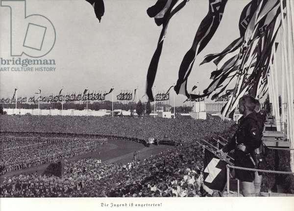 The youth has arrived, Nuremberg Rally, 1936 (b/w photo)