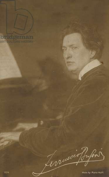 Ferruccio Busoni, Italian composer, pianist, editor, writer, teacher and conductor (1866-1924) (b/w photo)