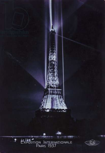 Eiffel Tower at night, Exposition Internationale, Paris, 1937 (b/w photo)