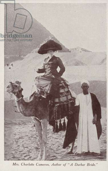 """Charlotte Cameron, author of """"A Durbar Bride"""", on a visit to the Pyramids of Giza, Egypt (b/w photo)"""