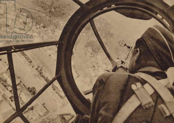 German bomb aimer, World War II (b/w photo)