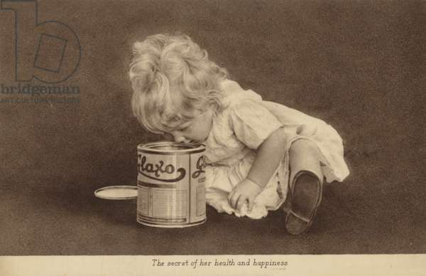 Advertisement for Glaxo baby food (b/w photo)
