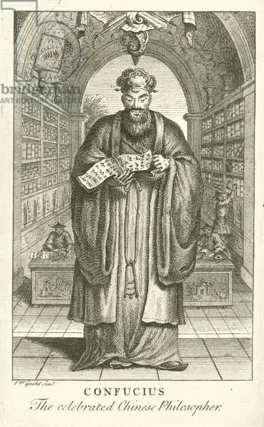Confucius, the celebrated Chinese Philosopher (engraving)