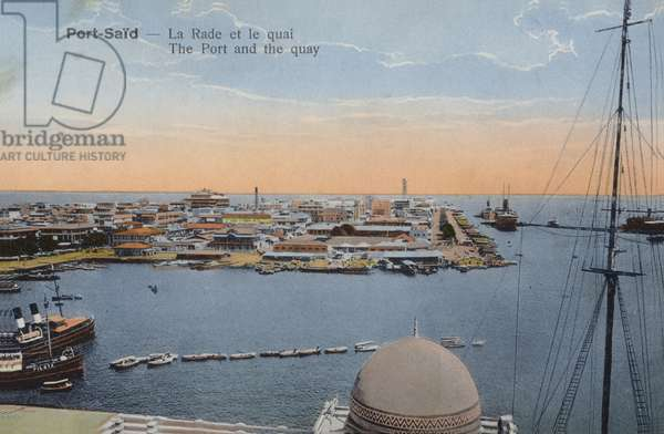 The port and the quay, Port Said, Egypt (coloured photo)
