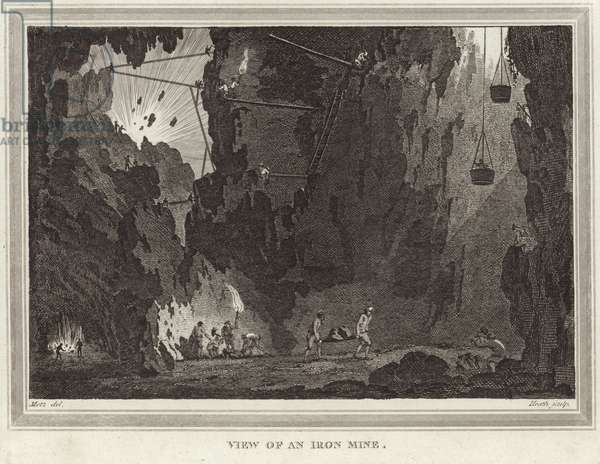 View of an iron mine (engraving)